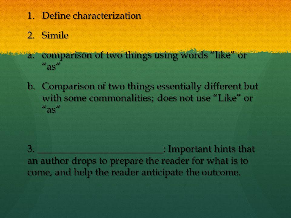 Define characterization