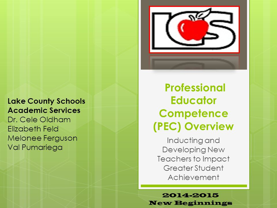 Professional Educator Competence (PEC) Overview