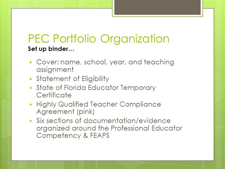 PEC Portfolio Organization Set up binder…