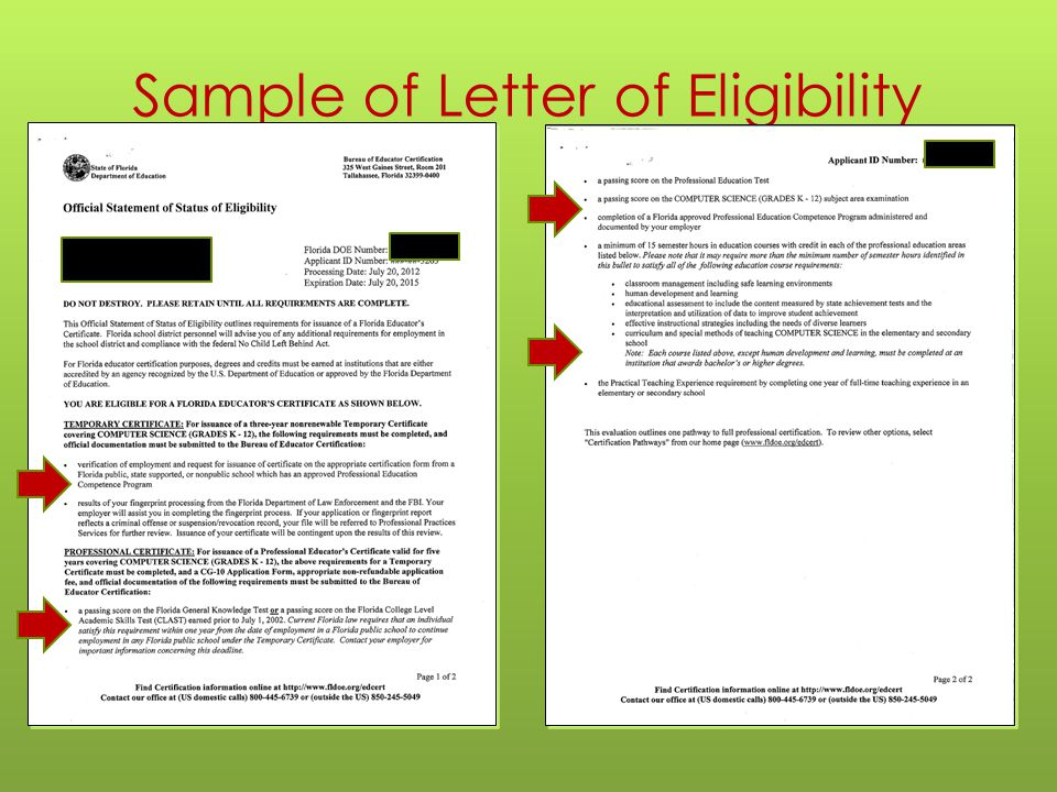 Sample of Letter of Eligibility