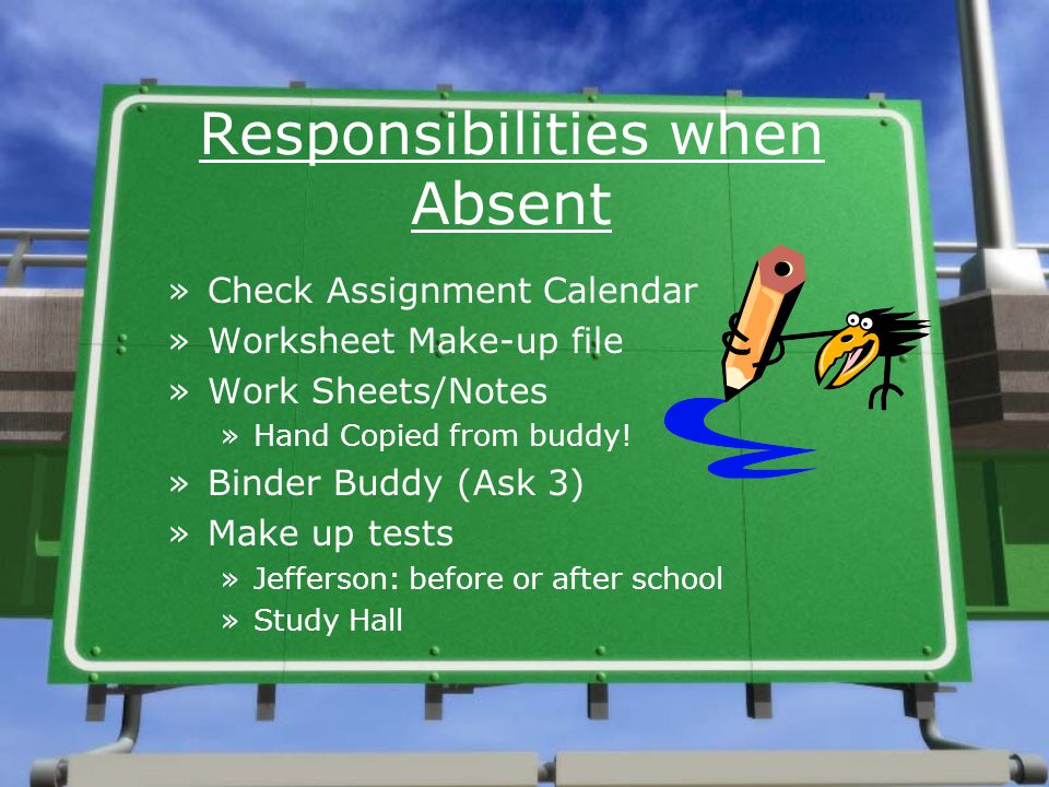 Responsibilities when Absent