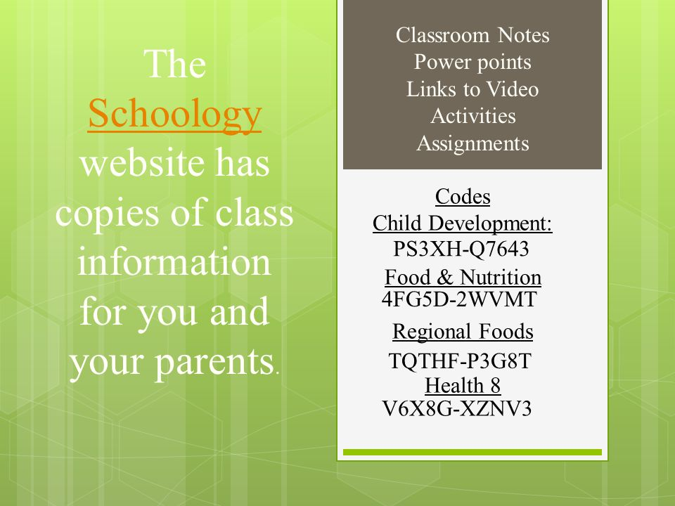 Classroom Notes Power points. Links to Video. Activities. Assignments.