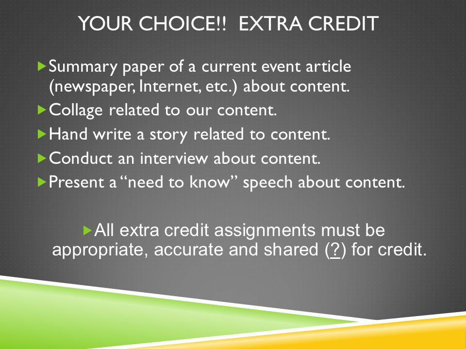 Your Choice!! Extra Credit