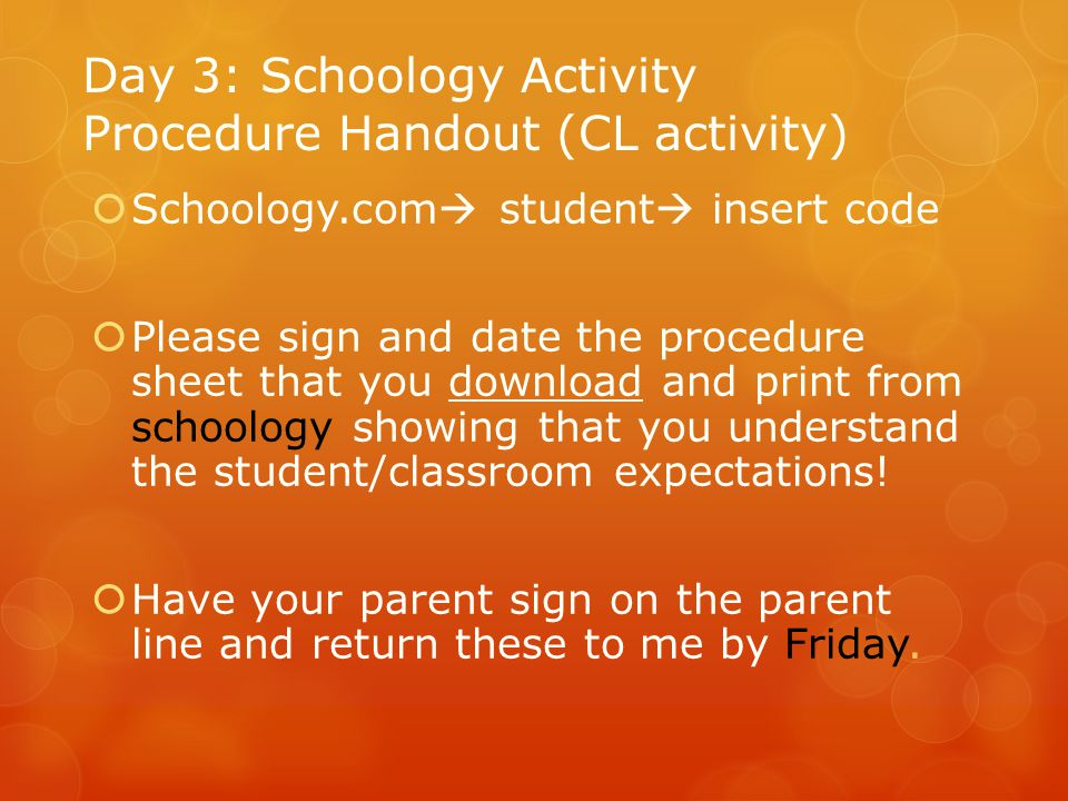 Day 3: Schoology Activity Procedure Handout (CL activity)