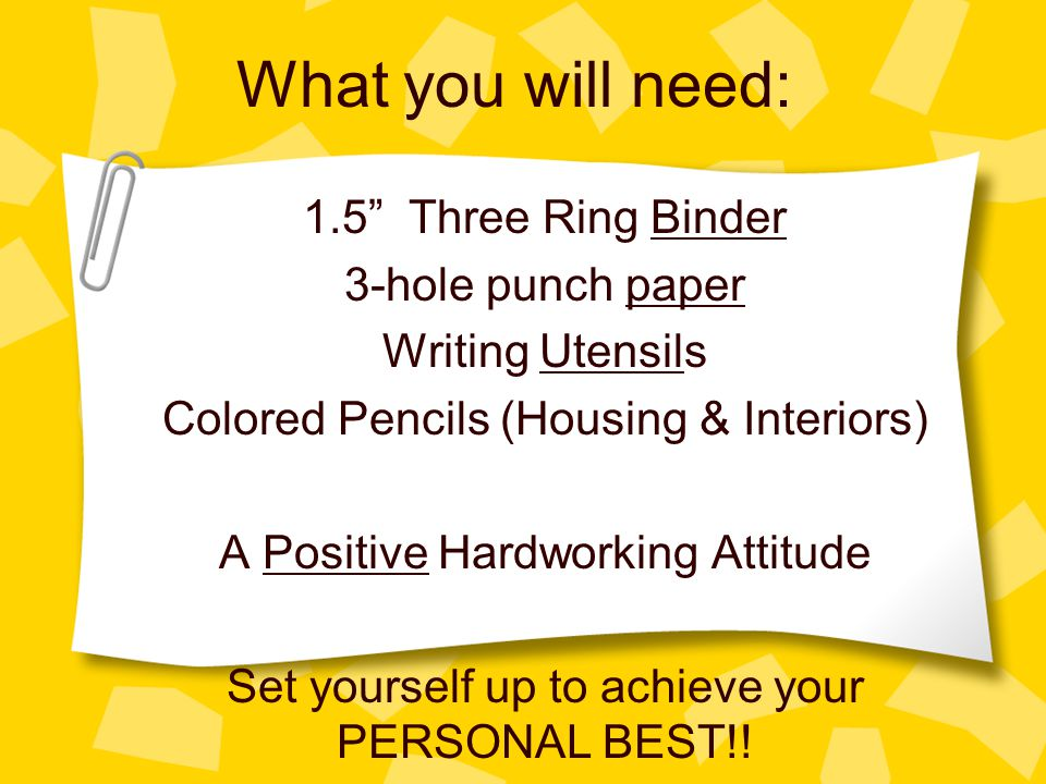 What you will need: 1.5 Three Ring Binder 3-hole punch paper