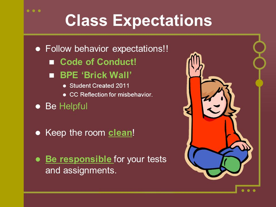 Class Expectations Follow behavior expectations!! Code of Conduct!
