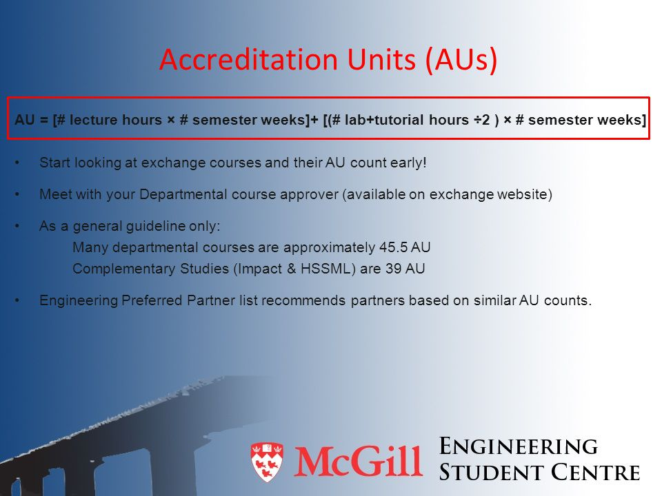 Accreditation Units (AUs)