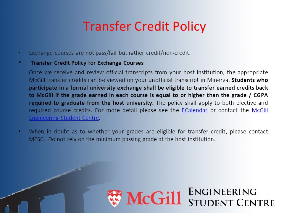 Transfer Credit Policy