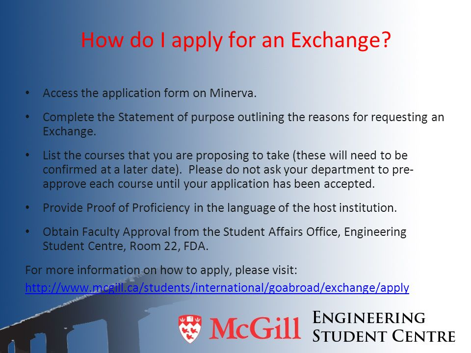 How do I apply for an Exchange
