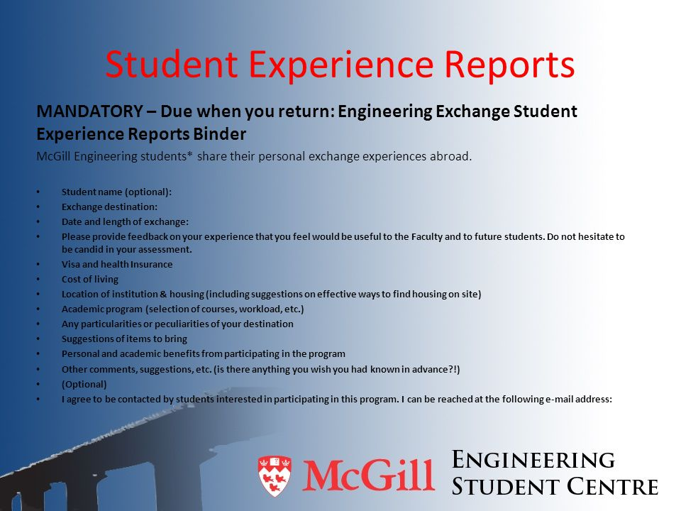 Student Experience Reports