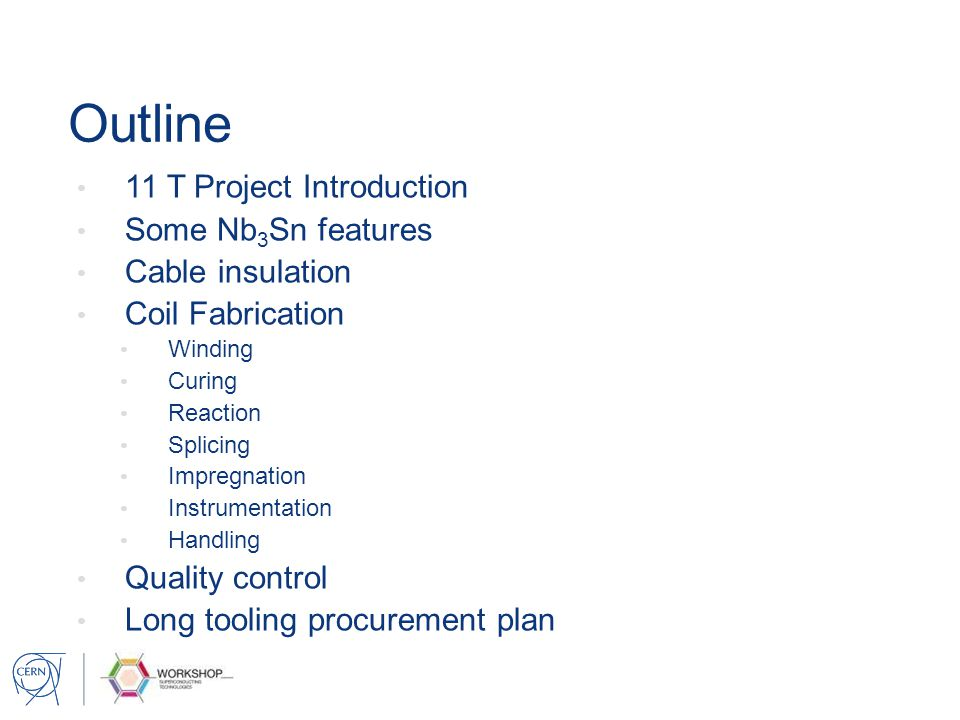 Outline 11 T Project Introduction Some Nb3Sn features Cable insulation