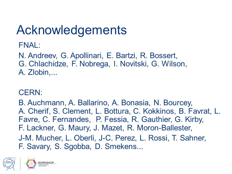 Acknowledgements FNAL: