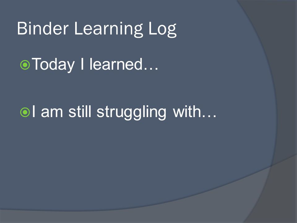 Binder Learning Log Today I learned… I am still struggling with…