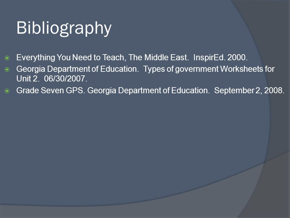 Bibliography Everything You Need to Teach, The Middle East. InspirEd. 2000.