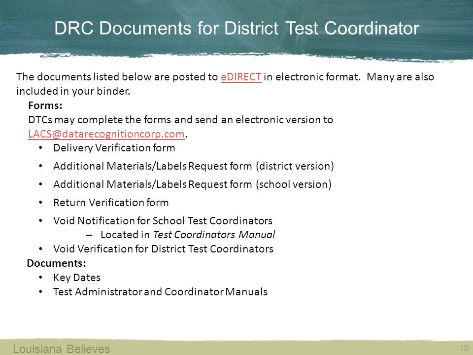 DRC Documents for District Test Coordinator