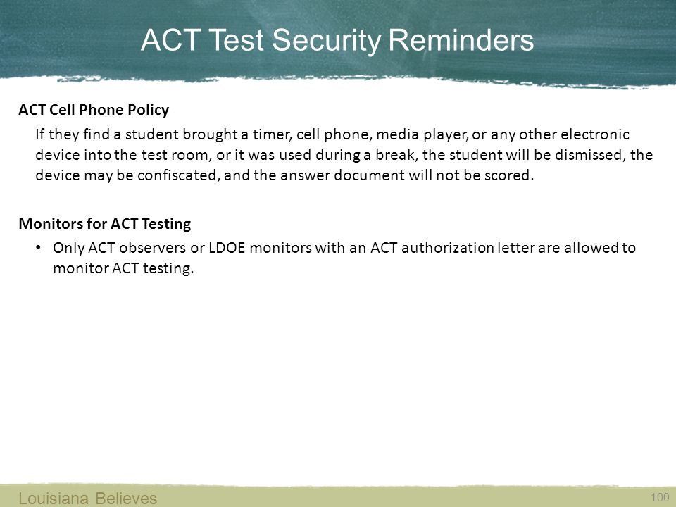 ACT Test Security Reminders