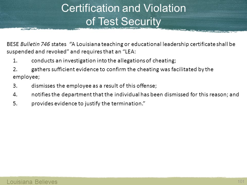 Certification and Violation of Test Security