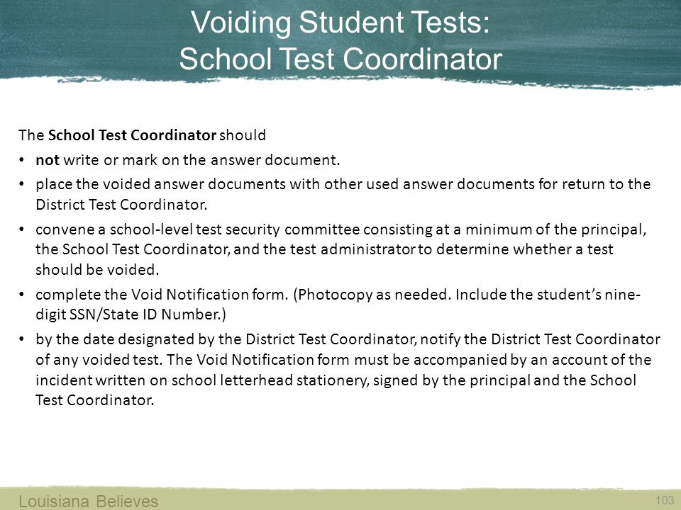 Voiding Student Tests: School Test Coordinator