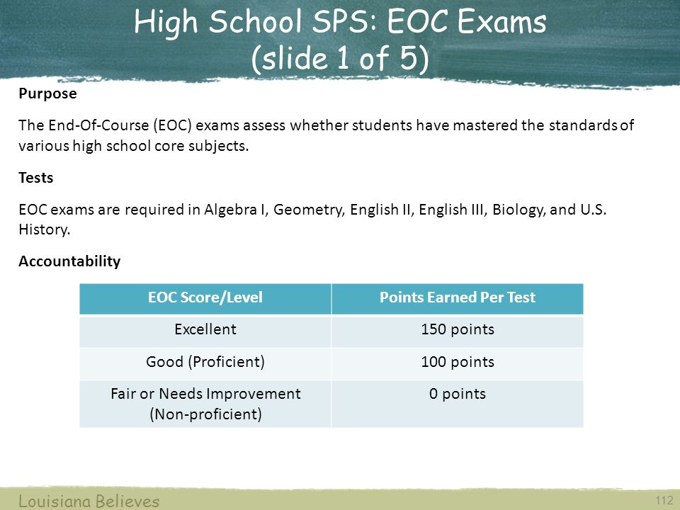 High School SPS: EOC Exams (slide 1 of 5)