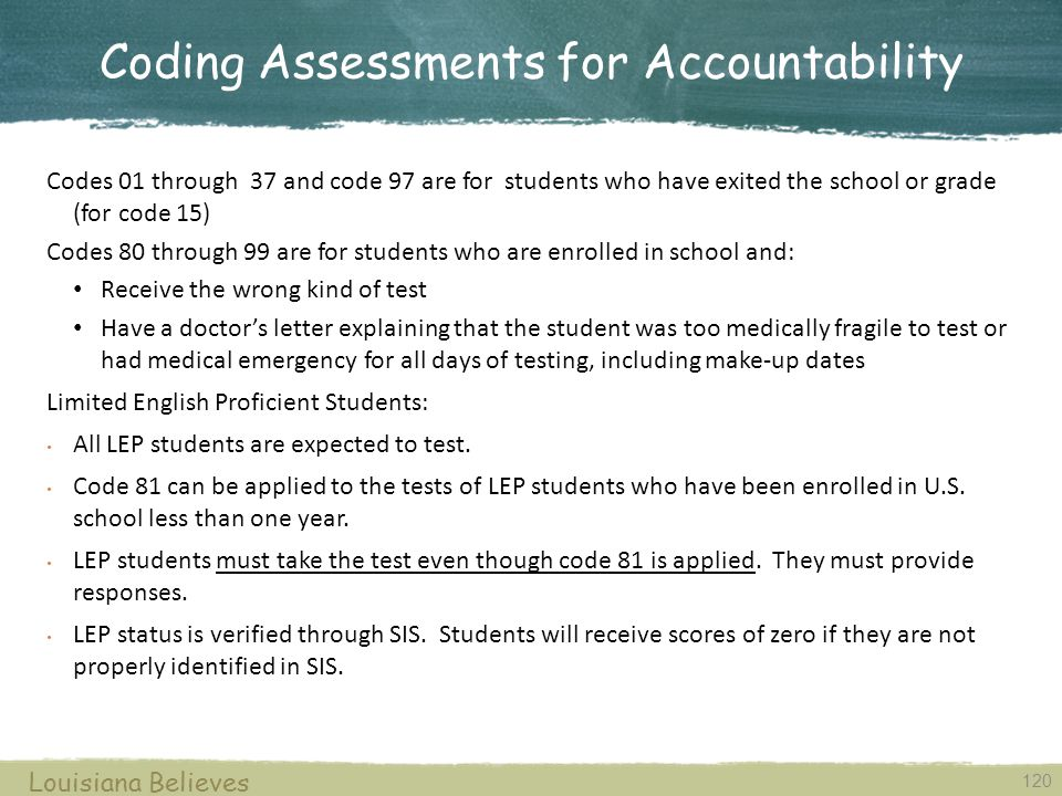 Coding Assessments for Accountability