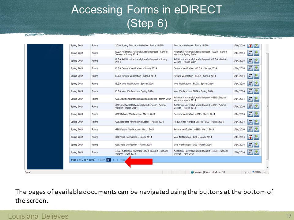 Accessing Forms in eDIRECT