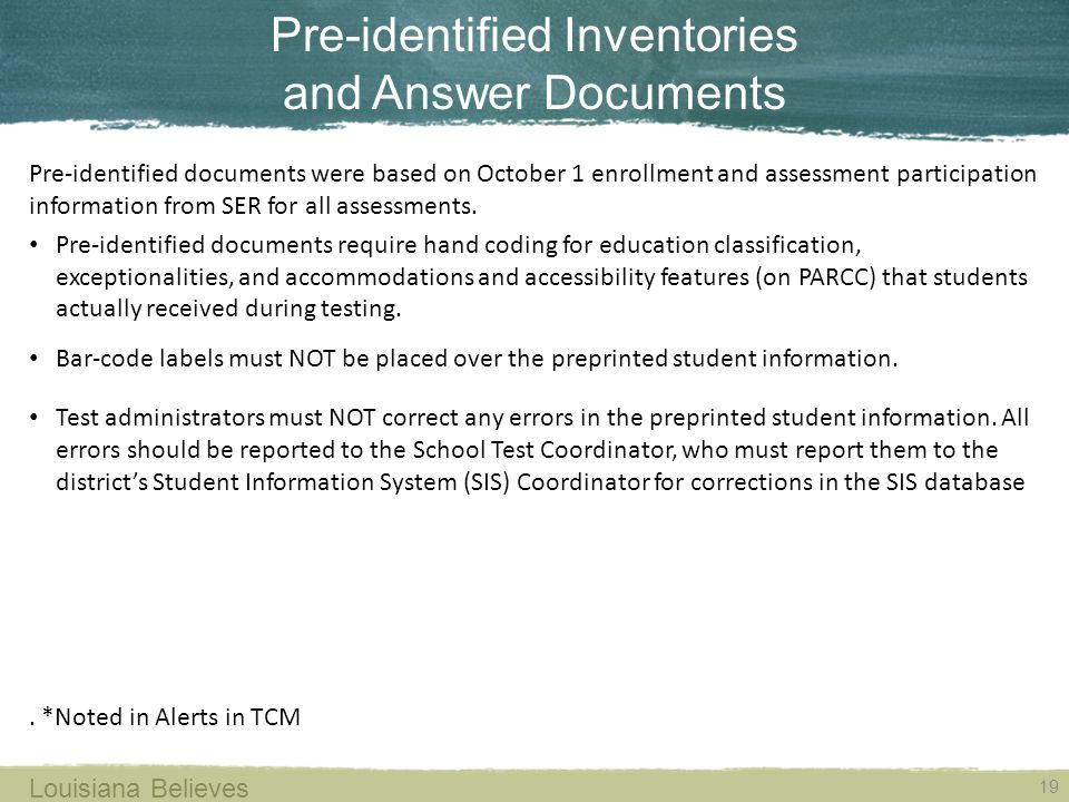 Pre-identified Inventories and Answer Documents
