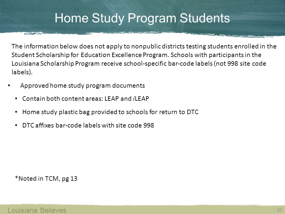 Home Study Program Students