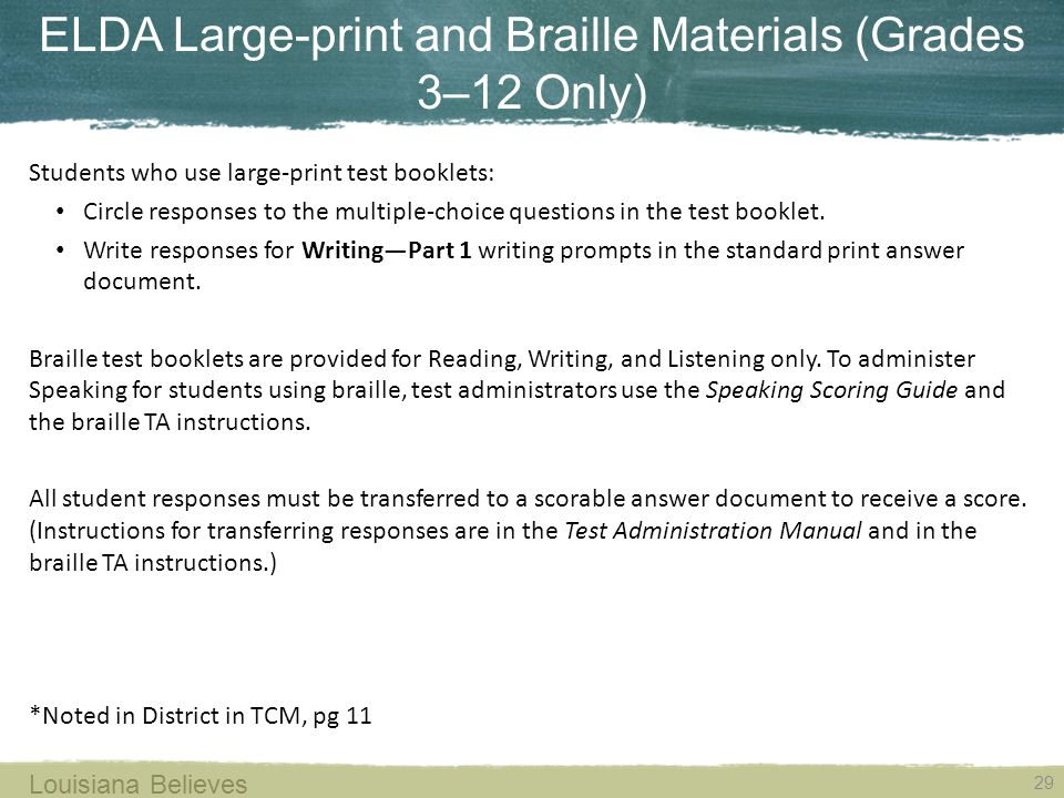 ELDA Large-print and Braille Materials (Grades 3–12 Only)