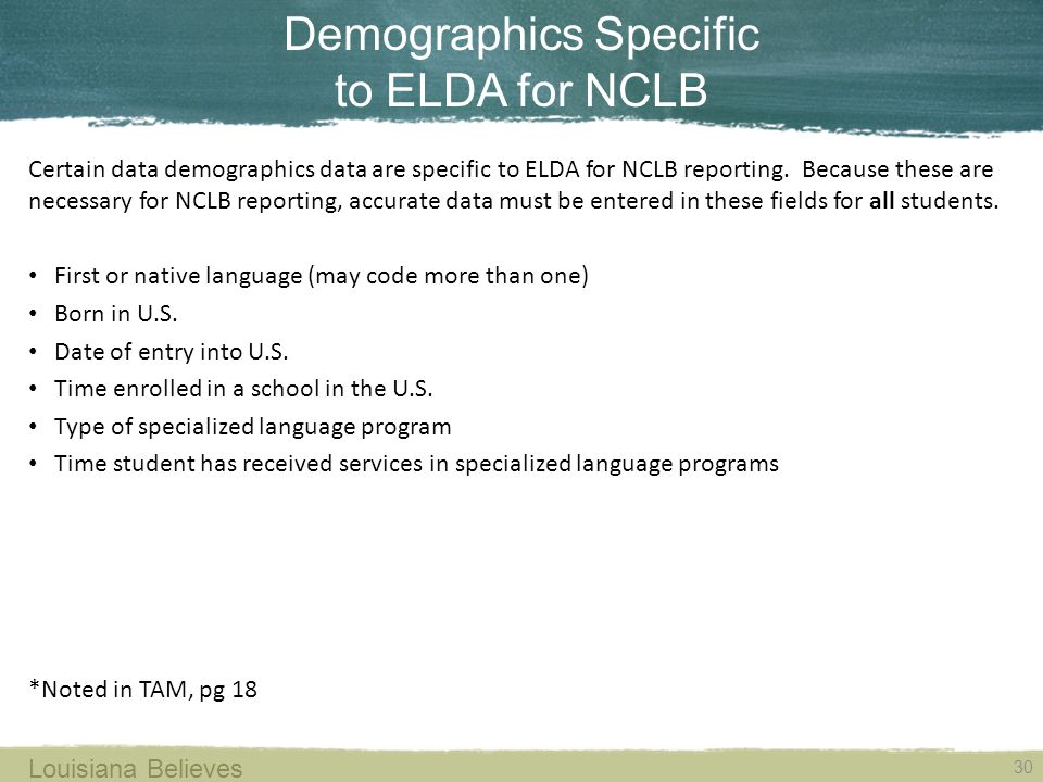 Demographics Specific to ELDA for NCLB