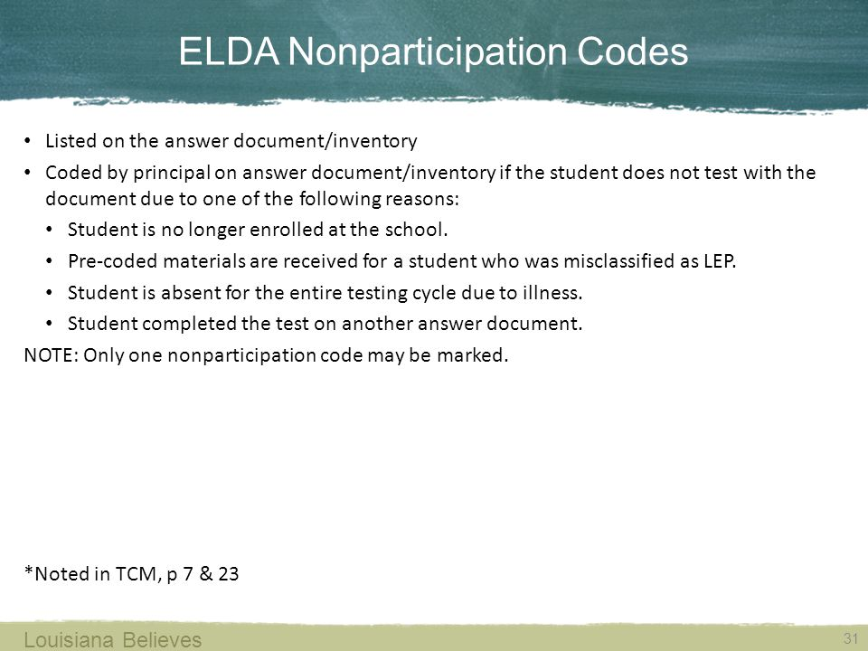 ELDA Nonparticipation Codes