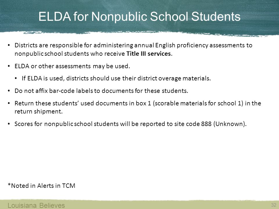 ELDA for Nonpublic School Students