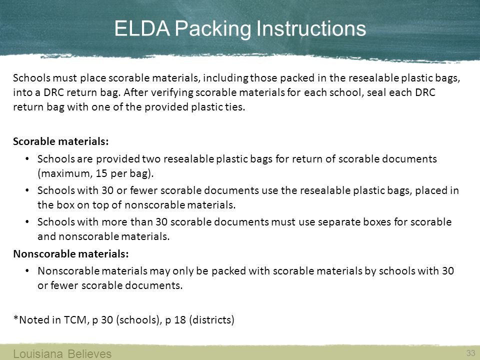 ELDA Packing Instructions