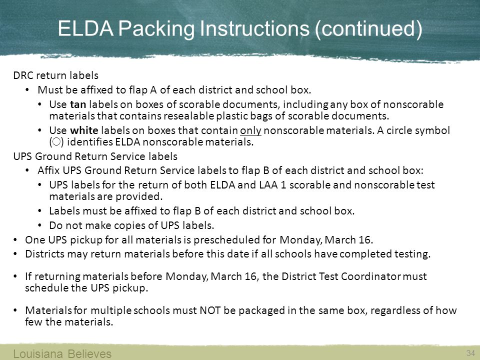 ELDA Packing Instructions (continued)