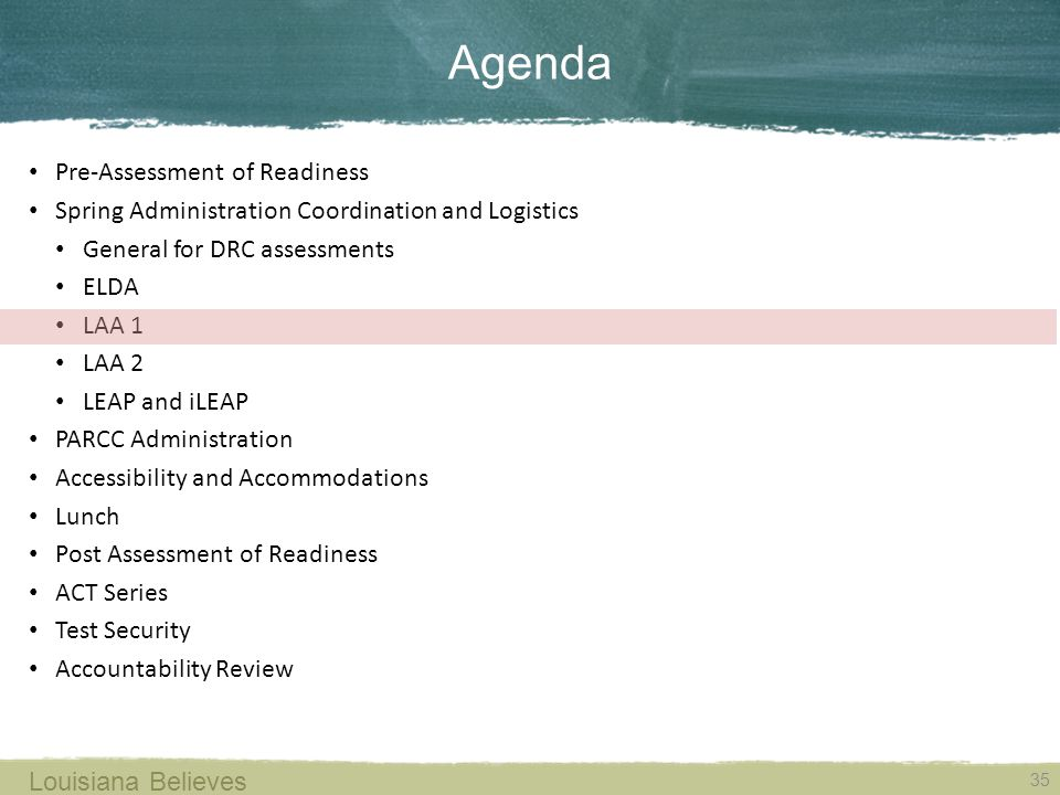 Agenda Pre-Assessment of Readiness