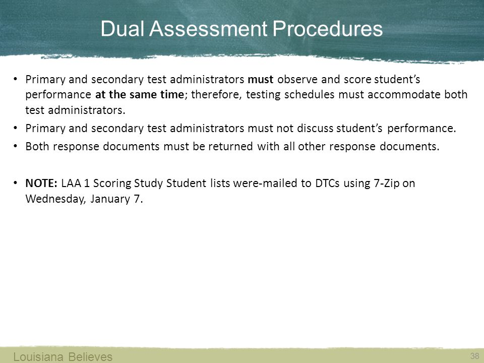 Dual Assessment Procedures