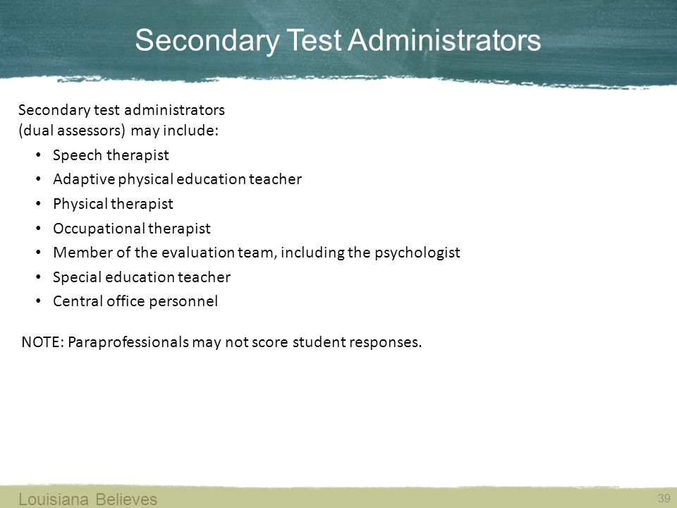 Secondary Test Administrators