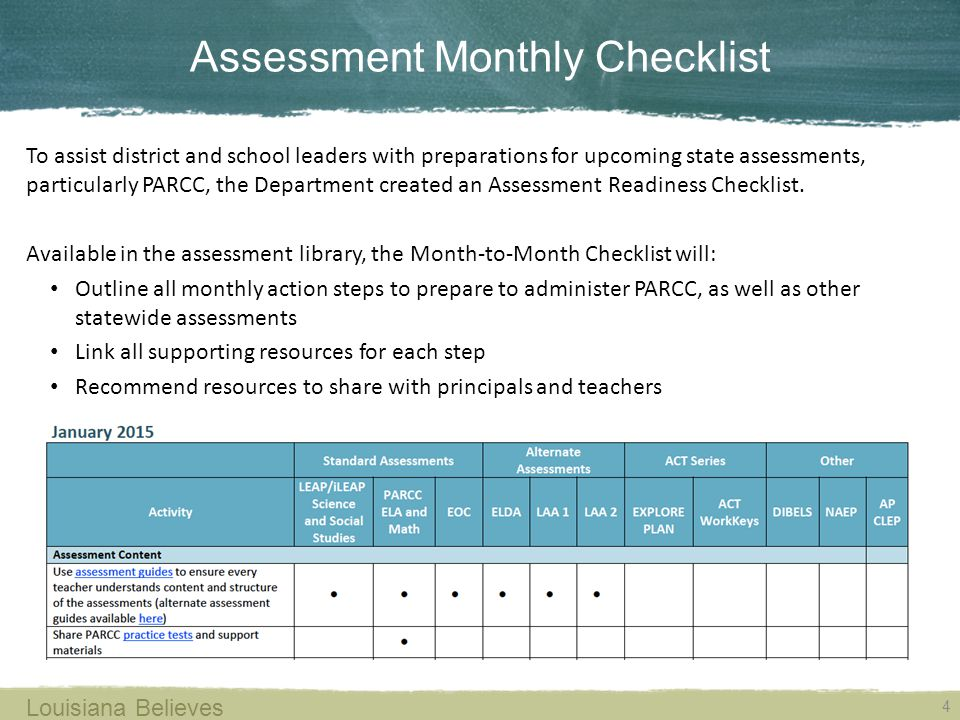 Assessment Monthly Checklist