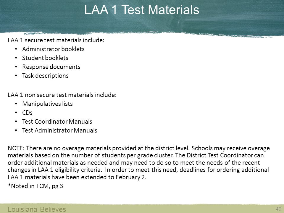 LAA 1 Test Materials Louisiana Believes