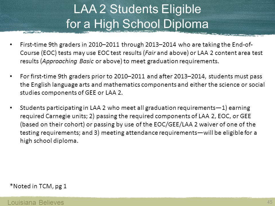 LAA 2 Students Eligible for a High School Diploma