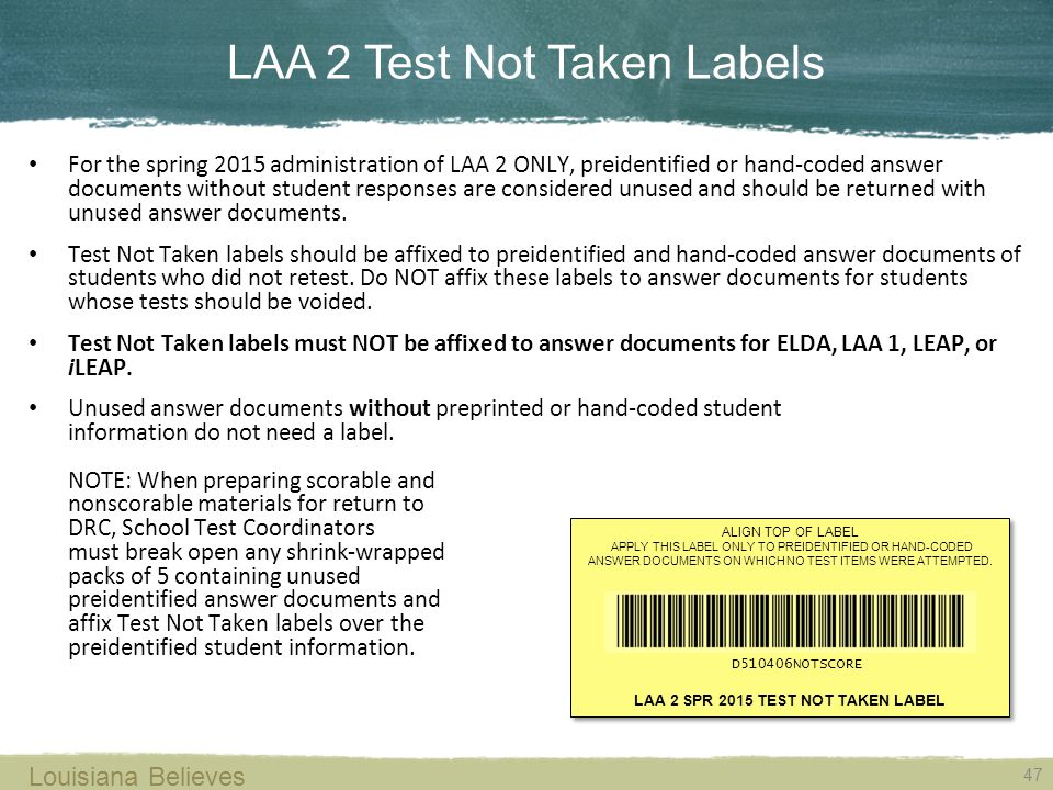 LAA 2 Test Not Taken Labels
