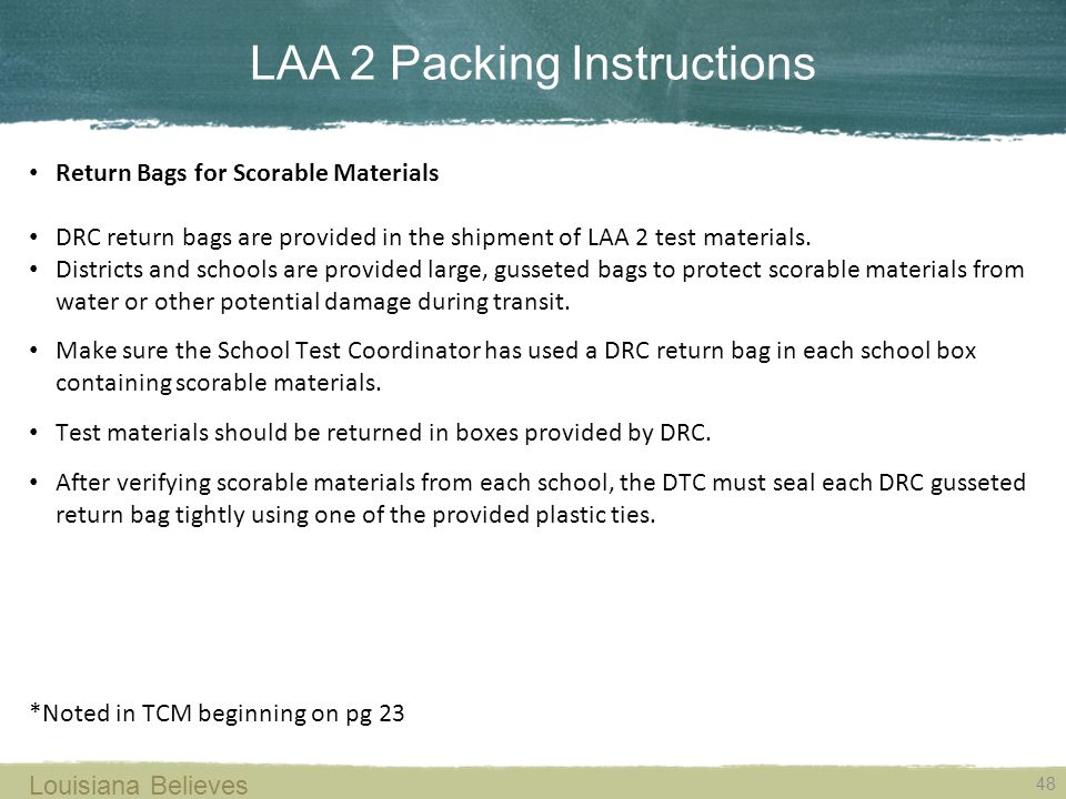 LAA 2 Packing Instructions
