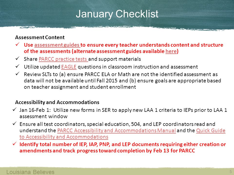 January Checklist Assessment Content