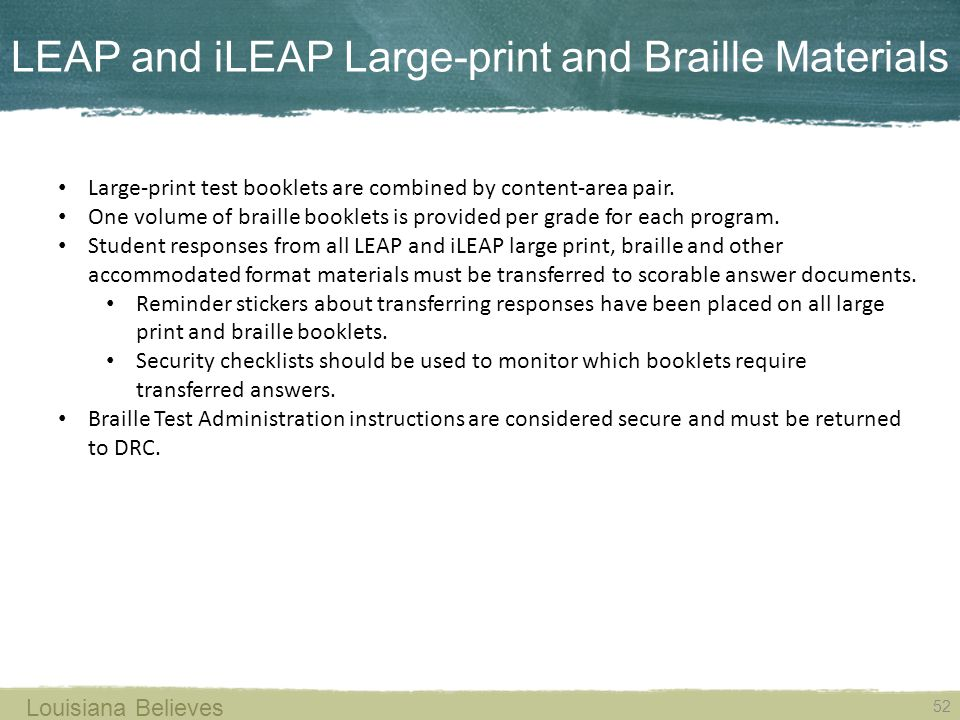 LEAP and iLEAP Large-print and Braille Materials