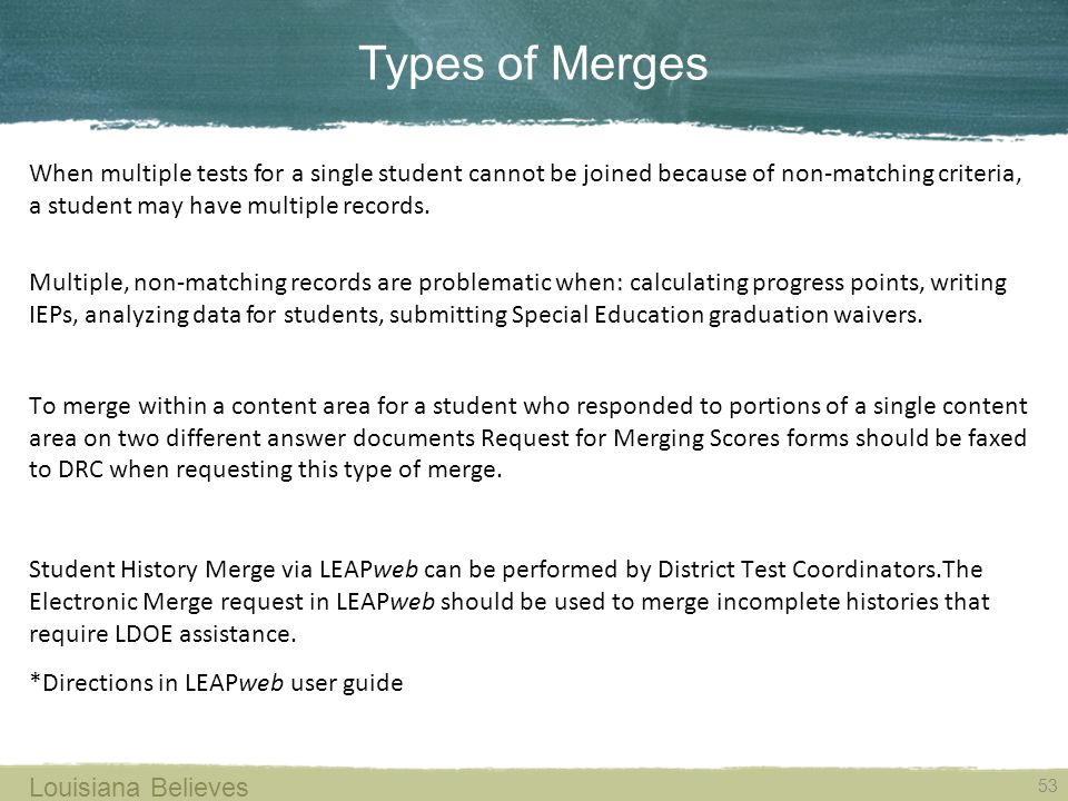 Types of Merges