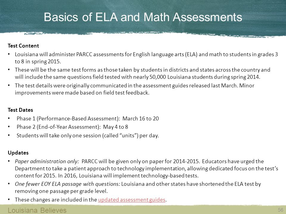 Basics of ELA and Math Assessments