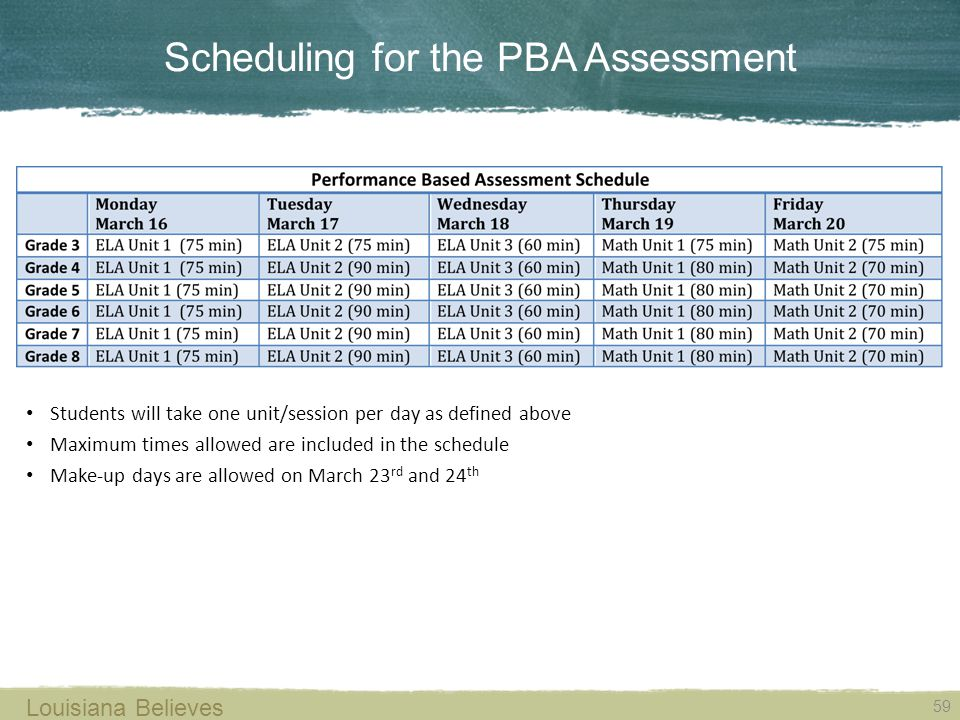 Scheduling for the PBA Assessment