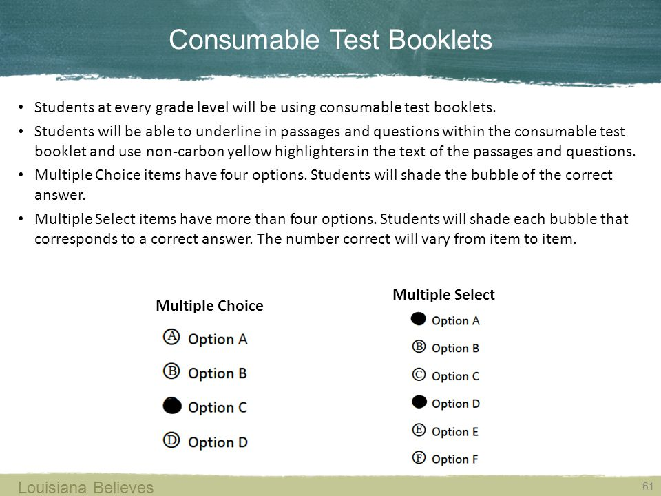 Consumable Test Booklets