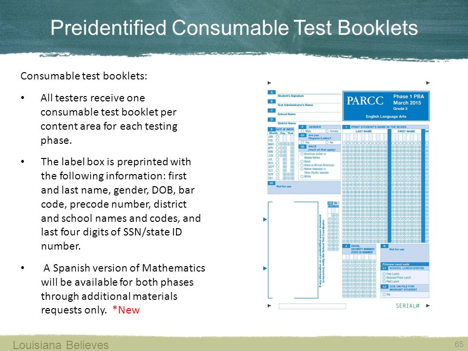 Preidentified Consumable Test Booklets