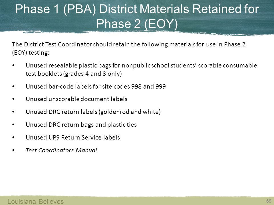 Phase 1 (PBA) District Materials Retained for Phase 2 (EOY)
