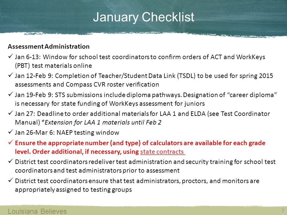 January Checklist Assessment Administration